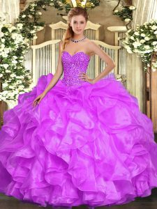 High Quality Lilac Ball Gowns Beading and Ruffles 15 Quinceanera Dress Lace Up Organza Sleeveless Floor Length