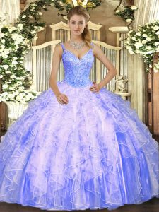 Ideal Lavender Tulle Lace Up V-neck Sleeveless Floor Length Quinceanera Gown Beading and Ruffles