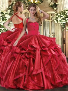 Colorful Ball Gowns Quinceanera Gowns Wine Red Halter Top Organza Sleeveless Floor Length Lace Up