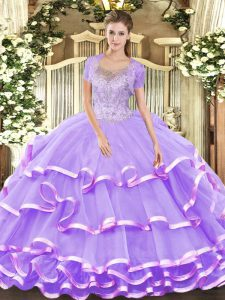 Fashion Scoop Sleeveless Lace Up Quinceanera Dress Lavender Tulle