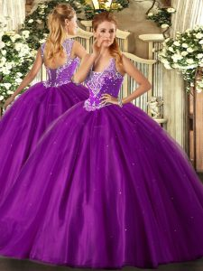 Spectacular Straps Sleeveless Lace Up Quinceanera Gown Purple Tulle