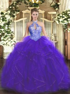 Organza Halter Top Sleeveless Lace Up Ruffles and Sequins Quinceanera Gowns in Purple