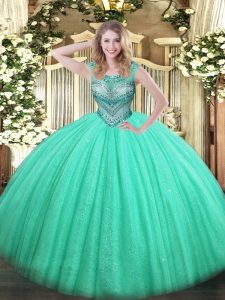 Custom Design Sleeveless Beading Lace Up Quinceanera Gown