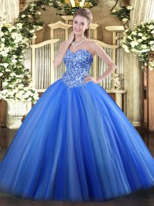 Blue Lace Up 15 Quinceanera Dress Appliques Sleeveless