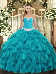 Excellent Ball Gowns Sweet 16 Quinceanera Dress Teal Sweetheart Organza Sleeveless Floor Length Lace Up