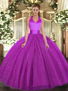 Low Price Halter Top Sleeveless Lace Up 15 Quinceanera Dress Fuchsia Tulle