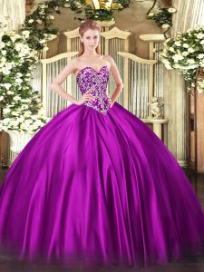 Fine Beading Quinceanera Gowns Fuchsia Lace Up Sleeveless Floor Length