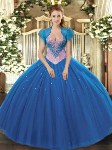 Designer Sleeveless Lace Up Floor Length Beading Sweet 16 Quinceanera Dress