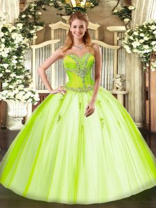 Floor Length Yellow Green Ball Gown Prom Dress Tulle Sleeveless Beading