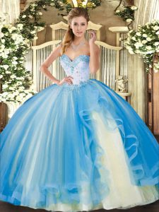 Fitting Tulle Sweetheart Sleeveless Lace Up Beading and Ruffles Quince Ball Gowns in Baby Blue