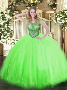 Top Selling Tulle Lace Up Sweet 16 Quinceanera Dress Sleeveless Floor Length Beading