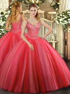 V-neck Sleeveless Lace Up Quinceanera Gowns Coral Red Tulle