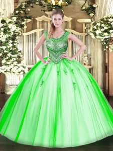 Fabulous Sleeveless Tulle Floor Length Lace Up Quinceanera Gown in with Beading