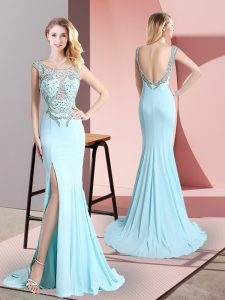 Latest Aqua Blue Sleeveless Beading Backless Prom Gown