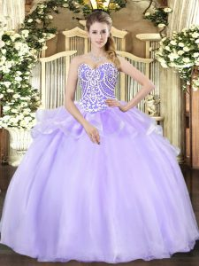 Lavender Lace Up Sweetheart Beading Quince Ball Gowns Organza Sleeveless