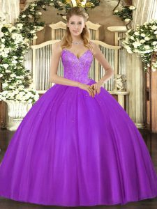 Romantic Eggplant Purple Quinceanera Gown Military Ball and Sweet 16 and Quinceanera with Beading V-neck Sleeveless Lace Up