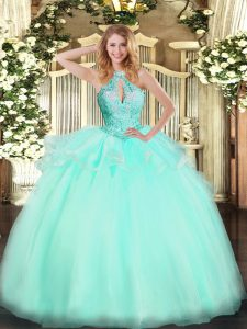 Cute Sleeveless Tulle Floor Length Lace Up Quinceanera Gowns in Aqua Blue with Beading