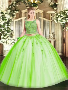 Lovely Scoop Sleeveless Tulle Sweet 16 Dresses Beading and Appliques Lace Up
