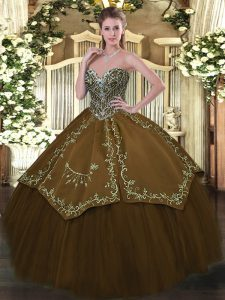 Sleeveless Floor Length Beading and Embroidery Lace Up 15 Quinceanera Dress with Brown