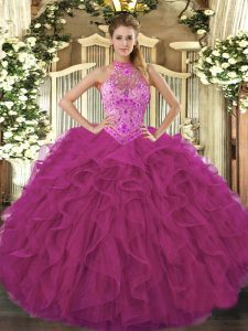 Discount Floor Length Fuchsia Quinceanera Dress Halter Top Sleeveless Lace Up