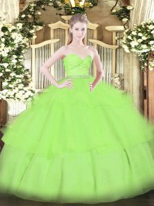Floor Length Quinceanera Gown Sweetheart Sleeveless Zipper