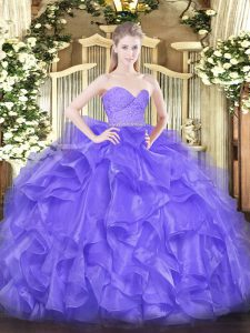 New Style Lavender Sleeveless Organza Zipper Vestidos de Quinceanera for Military Ball and Sweet 16 and Quinceanera