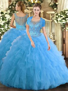 Fashionable Scoop Sleeveless Clasp Handle 15th Birthday Dress Aqua Blue Tulle