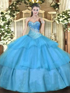 Aqua Blue Lace Up 15 Quinceanera Dress Beading and Ruffled Layers Sleeveless Floor Length