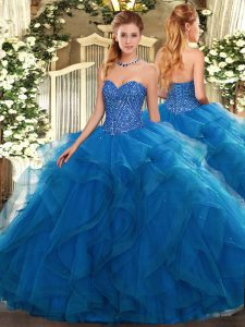 Romantic Floor Length Blue Sweet 16 Quinceanera Dress Tulle Sleeveless Beading and Ruffles