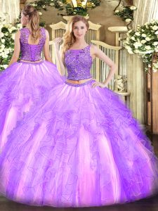 Luxurious Two Pieces Quinceanera Dresses Lavender Scoop Tulle Sleeveless Floor Length Lace Up