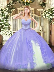 Lavender Sleeveless Tulle Lace Up Quinceanera Gowns for Military Ball and Sweet 16 and Quinceanera