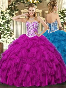 Elegant Floor Length Fuchsia Quinceanera Gown Tulle Sleeveless Beading and Ruffles