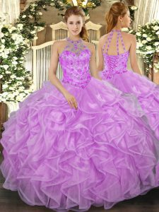 Sweet Organza Sleeveless Floor Length Quinceanera Dresses and Beading and Ruffles