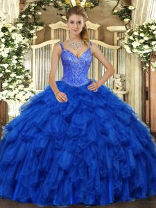 Spectacular Royal Blue 15 Quinceanera Dress Military Ball and Sweet 16 and Quinceanera with Beading and Ruffles V-neck Sleeveless Lace Up