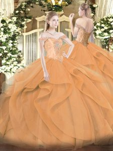 Custom Designed Off The Shoulder Sleeveless 15th Birthday Dress Floor Length Beading and Ruffles Orange Tulle