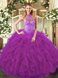 Inexpensive Beading and Ruffles 15th Birthday Dress Purple Lace Up Sleeveless Floor Length