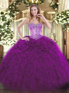 Floor Length Lace Up Quinceanera Gowns Eggplant Purple for Sweet 16 and Quinceanera with Beading and Ruffles
