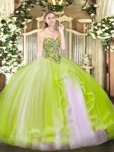 Tulle Sweetheart Sleeveless Lace Up Beading and Ruffles Ball Gown Prom Dress in Yellow Green