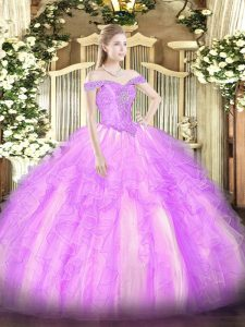 Lilac Quinceanera Dress Military Ball and Sweet 16 and Quinceanera with Beading and Ruffles Off The Shoulder Sleeveless Lace Up