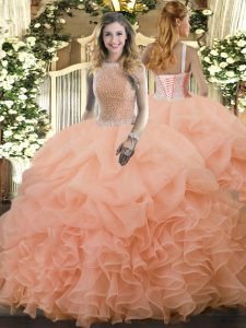 Flirting High-neck Sleeveless Lace Up Sweet 16 Dresses Peach Organza