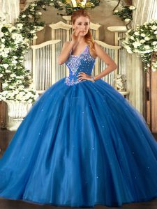Shining Straps Sleeveless Ball Gown Prom Dress Floor Length Beading Blue Tulle