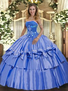 Pretty Floor Length Lace Up 15th Birthday Dress Blue for Military Ball and Sweet 16 and Quinceanera with Beading and Ruffled Layers