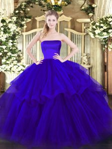 Unique Blue Zipper Strapless Ruffled Layers Quinceanera Gown Tulle Sleeveless Brush Train