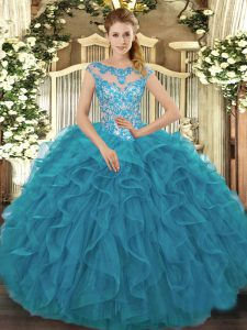 Teal Ball Gowns Beading and Ruffles Vestidos de Quinceanera Lace Up Organza Cap Sleeves Floor Length