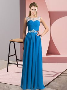 Amazing Scoop Sleeveless Floor Length Beading Blue Chiffon