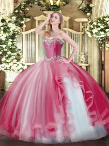 Floor Length Ball Gowns Sleeveless Coral Red 15 Quinceanera Dress Lace Up