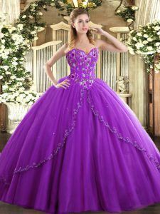 Ball Gowns Sleeveless Eggplant Purple Sweet 16 Quinceanera Dress Brush Train Lace Up