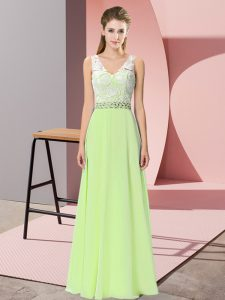 Floor Length Yellow Green Homecoming Dress Chiffon Sleeveless Beading