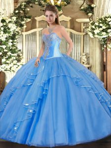 High End Ball Gowns Quinceanera Gowns Baby Blue Sweetheart Tulle Sleeveless Floor Length Lace Up