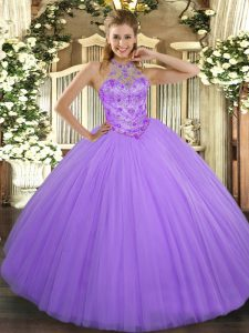 Lavender Halter Top Neckline Beading Sweet 16 Dresses Sleeveless Lace Up
